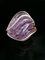 LARGE 18CT YELLOW GOLD DESIGNER CARVED CABACHEON AMETHYST DIAMOND RING