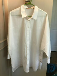 Athleta Women's Marinwood Poplin White Button Down Shirt - Large