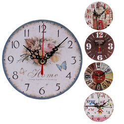 Hot Sale Vintage Wood Wall Clock House Home Office Shabby Chic Antique Style Z0