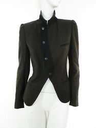 STUNNING WOMENS ALL SAINTS KERLOR TAILORED BLAZER RIDING JACKET BROWN BLACK UK 8 $100.08