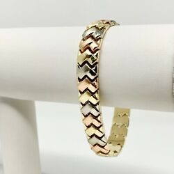 14k Yellow White Rose Gold Tri Tone 10mm Fancy Link Bracelet 7 Inches