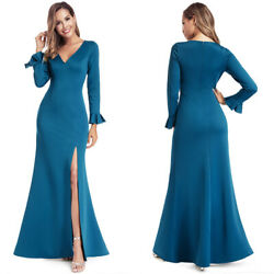 Ever-Pretty US V-Neck Ruffles Sleeve Split Long Evening Dress Cocktail Prom Gown