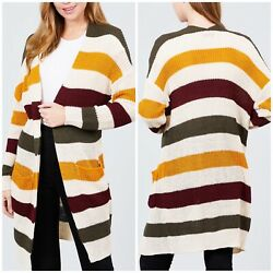 Trendy Color Block Long Sweater Open Cardigan In Gorgeous Fall Colors