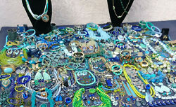HUGE LOT OF VINTAGENOW COSTUME JEWELRY BEAUTIFUL BLUES GORGEOUS GREENS