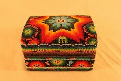 Colorful Multicolor Beaded Wood Jewelry Trinket Box Star Design