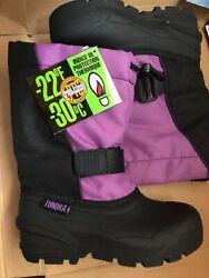 New TUNDRA Boulder Kids Snow Boots Winter Shoes Black Purple Girl 13 youth $25.19