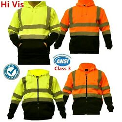 Hi Vis ANSI Class 3 Safety Pullover Hooded Sweatshirt Fleece Hoodie Black Bottom