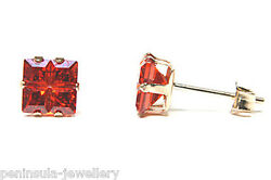 9ct Gold Red CZ Square Studs earrings Gift Boxed Made in UK Christmas Gift