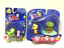 Littlest Pet Shop King Froggie & Duckie (2004) and Messiest Frog (2008) Sealed