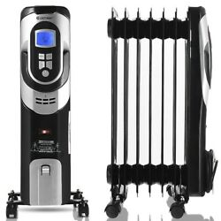 Radiator Heater Electric Energy Efficient Space Heater Black Portable Oil Filled $79.02