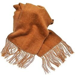 Extremely Soft Brushed 100% Alpaca Scarf Woven Peru Casual Warm Unisex Camel New