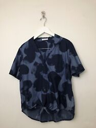 Equipment Kiera Print Waist Top Shirt Sz Large Blue Short Sleeve Button Chambray