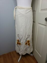 Vintage Embroidered Wrap Skirt Boho Chic Hippie Size Medium  $28.00