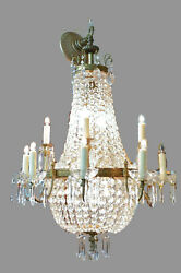 Crystal and Brass Chandelier Vintage 18 Light Handcrafted