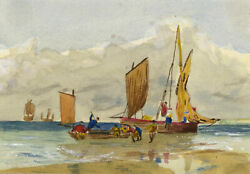 Mildred Robinson Beached Sail Boats – Original 1876 watercolour painting