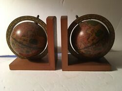 Rotating Wooden Globe Bookends Book Ends  Made In Italy Old World