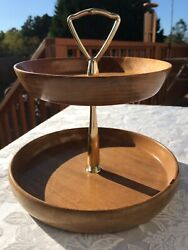 THE MYRTLE BURL Myrtlewood Two-Tier Dessert Pastry Serving Tray Caddy w Handle