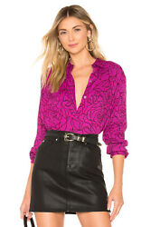 Equipment Essential Floral Long Sleeve Blouse Violet & True Black M NWT $280