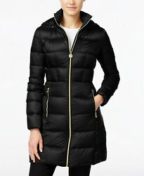 MICHAEL KORS Packable Hooded Quilted Down Jacket Black Sz Petite Large NWT $240