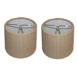 Beige Burlap 6 Inch European Drum Style Chandelier Lamp Shades Set of 2 $25.99