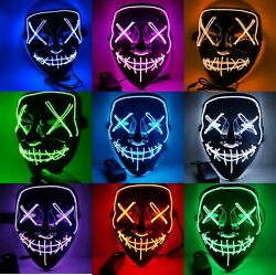 Halloween LED Glow Mask 3 Modes EL Wire Light Up The Purge Movie Costume Party $19.87