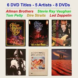 Lot of 6 Music DVDs - Allman Petty Dire Straits Led Zeppelin Stevie Ray