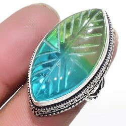 Carved-Bi-Color Tourmaline 925 Sterling Silver Jewelry Ring Size-8 1264