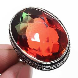 Bi-Color Tourmaline 925 Sterling Silver Jewelry Ring Size-7.75 2879