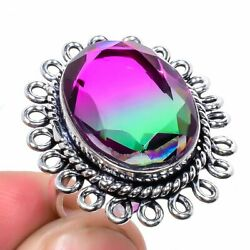 Winsome Bi-Colour Tourmaline Gemstone 925 Sterling Silver Ring Size 8 5853