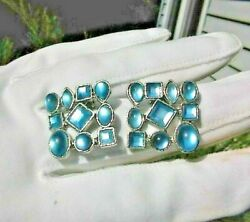MAGNIFICANT Vintage SKY  Blue Moonstone Cabochon SQUARE CLIP ON EARRINGS #231