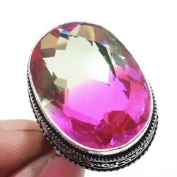 Bi-Color Tourmaline 925 Sterling Silver Jewelry Ring Size-9 8961
