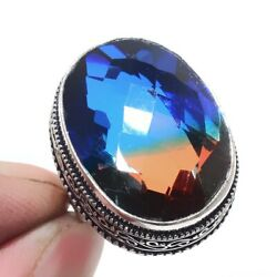 Bi-Color Tourmaline 925 Sterling Silver Jewelry Ring Size-7.75 9006