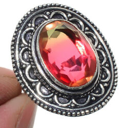Bi-Color Tourmaline 925 Sterling Silver Jewelry Ring Size-8 8750