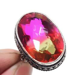 Bi-Color Tourmaline 925 Sterling Silver Jewelry Ring Size-7.75 8814