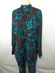 NEW WHO WHAT WEAR WOMENS TOP LONG SLEEVE BLOUSE SIZE SMALL TEALBROWN POLYESTER
