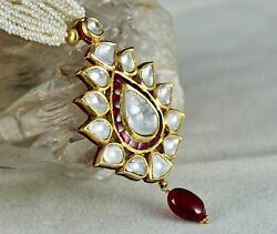 UNIQUE FLAT BIG DIAMOND SPINEL PEARL BEADS 22K YELLOW GOLD JADAU LADIES NECKLACE