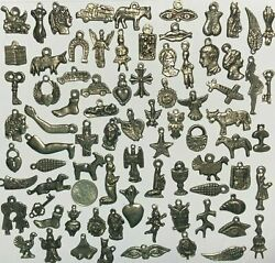 50 MILAGROS Dark Antique Old Silver Black Mexican Charms Wholesale lot $9.60