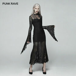 Fashion Gothic Hollow Out Sexy perspective Long sleeved Lace slim Black Dress $84.99