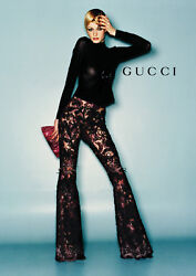 GUCCI TOM FORD RUNWAY BurgundyBlack Shearling Bolero & Embroidered Lace Pants