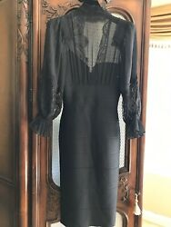 Herve Leger Dress Size L Black Long Chiffon Sleeves With Lace Dressy Unique Rare