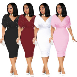 Women V Neck Beaded Solid Bodycon Dress Party Evening Cocktail Dresses Club wear $16.14