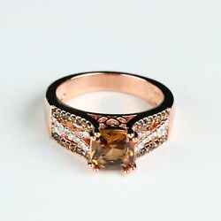 Cushion Cut Chocolate CZ Rose Gold Plated Women Fashion Jewelry Ring 865