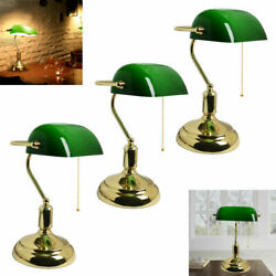 Large Bankers Lamp Green Brass Vintage Retro Antique Table Desk Light Office