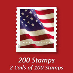 200 USPS FOREVER STAMPS 2 Coils of 2017 First Class Mail Postage!
