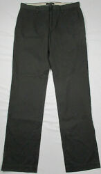 Banana Republic Emerson Chino Dark Gray Flat Front Casual Pants Size 32 x 34