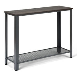 Console Sofa Table Storage Shelves Metal Frame Wood Look Entryway Table Silver $75.95