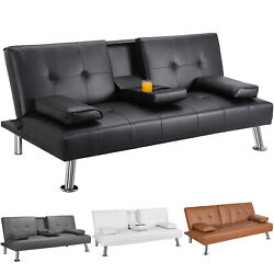 Modern Faux Leather Futon Sofa Bed Fold Up amp; Down Recliner Couch with Cup Holder $189.99