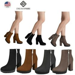 DREAM PAIRS Women Ladies Ankle Boots Suede High Heel Zipper Style Winter Shoes $26.99