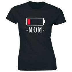 Low Battery Mom T Shirt for Women Funny Tired Exhausted Mommy Tee Shirt $12.42