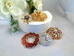 Gorgeous!  Signed Unsigned Vintage Brooch Lot (5) Enamel Rhinestone Etc